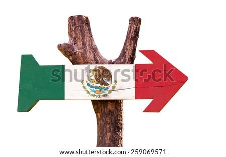 Mexico Flag isolated on white background - stock photo