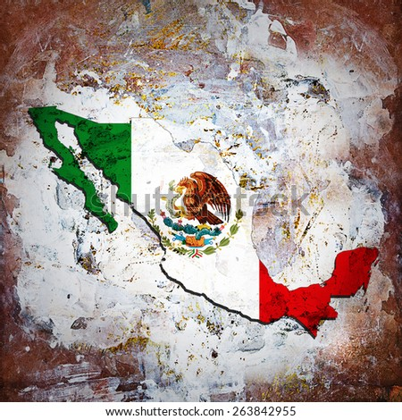 Mexico flag,map and wall background - stock photo
