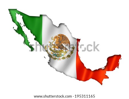 Mexico flag map, three dimensional render, isolated on white - stock photo