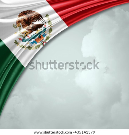 Mexico flag  of  silk with copyspace for your text or images and sky background-3D illustration