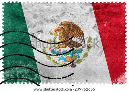 Mexico Flag - old postage stamp - stock photo