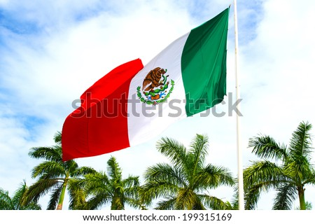 Mexico flag on a background of palm trees and blue sky. - stock photo