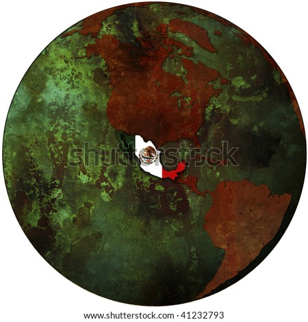 mexico flag on map of earth globe - stock photo