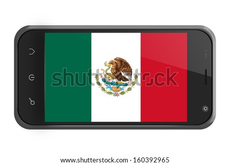 Mexico flag on smartphone screen isolated on white - stock photo