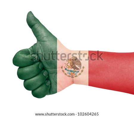 Mexico flag on thumb up gesture like icon - stock photo
