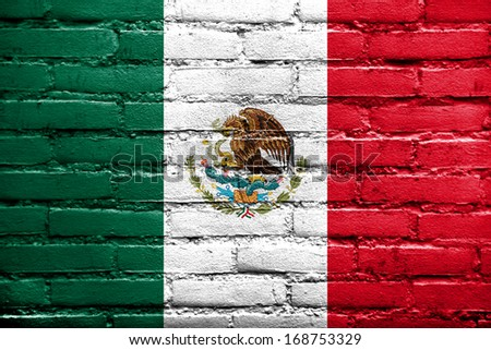 Mexico Flag painted on brick wall - stock photo