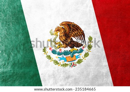 Mexico Flag painted on leather texture - stock photo
