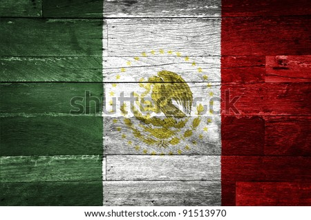 mexico flag painted on old wood background - stock photo