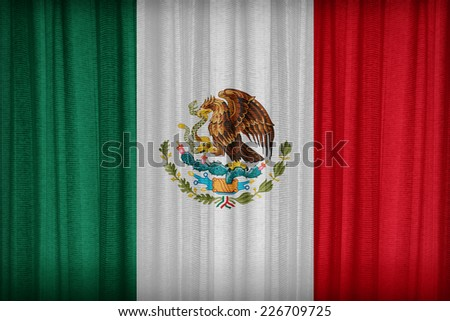 Mexico flag pattern on the fabric curtain,vintage style - stock photo