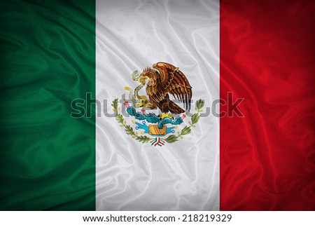 Mexico flag pattern on the fabric texture ,vintage style - stock photo
