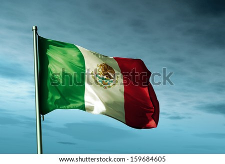 Mexico flag waving in the wind - stock photo