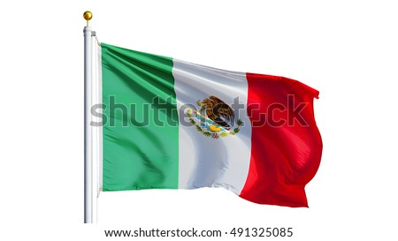 Mexico flag waving on white background, close up, isolated with clipping path mask alpha channel transparency