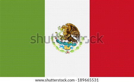 Mexico flag with a plastic brick background.