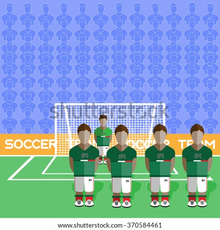Mexico Football Club Soccer Players Silhouettes. Computer game Soccer team players big set. Sports infographic. Football Teams in Flat Style. Goalkeeper Standing in a Goal. Raster illustration. - stock photo