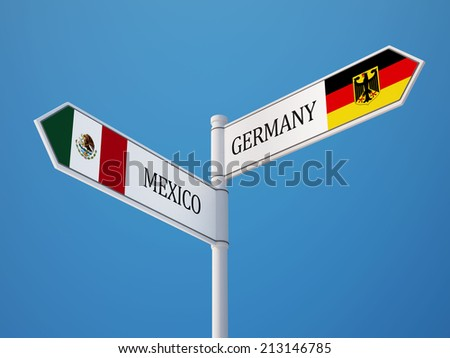 Mexico  Germany High Resolution Sign Flags Concept - stock photo