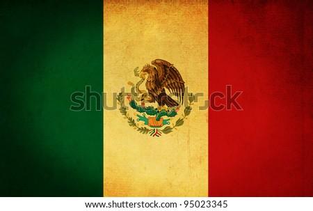 mexico grunge flag background - stock photo