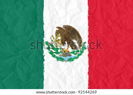 mexico grunge flag on wrinkled paper background