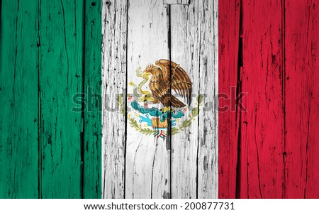 Mexico grunge wood background with Mexican flag painted on aged wooden wall, backdrop for creative design. - stock photo