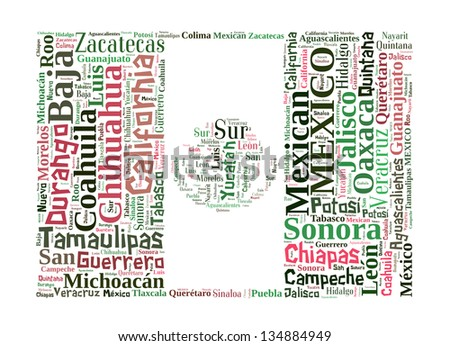 Mexico info-text graphics and arrangement concept in Mexico flag design (word cloud) - stock photo