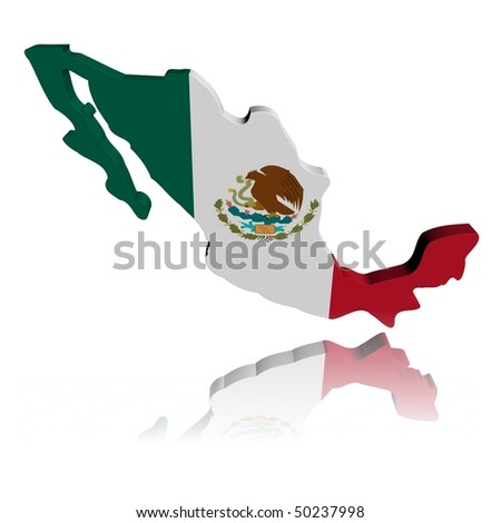 Mexico map flag 3d render with reflection illustration - stock photo