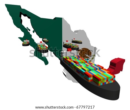 Mexico map flag with container ships illustration - stock photo