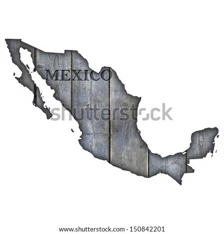 Mexico Map - Wood - stock photo