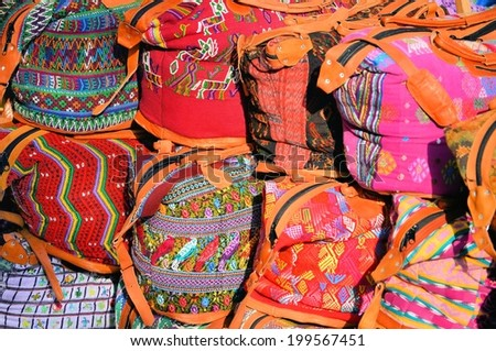 """Mexico, Merida - March 27th, 2014: """"Oaxaca in Merida"""" - Food and Handcrafts Event. Mexican traditional handmade bags.  - stock photo"""