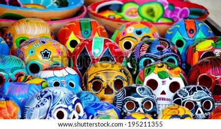 """Mexico, Merida - March 26th, 2014: """"Oaxaca in Merida"""" - Food and Handcrafts Event. Pile of traditional mayan skulls. - stock photo"""