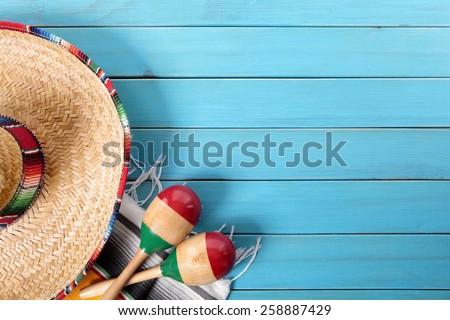 Mexico : Mexican background, sombrero - stock photo