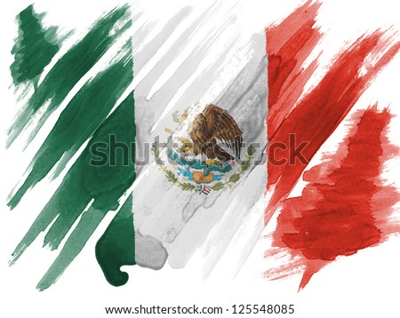 Mexico. Mexican flag painted with watercolor on paper