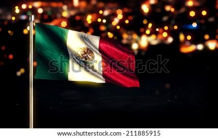 Mexico National Flag City Light Night Bokeh Background 3D - stock photo