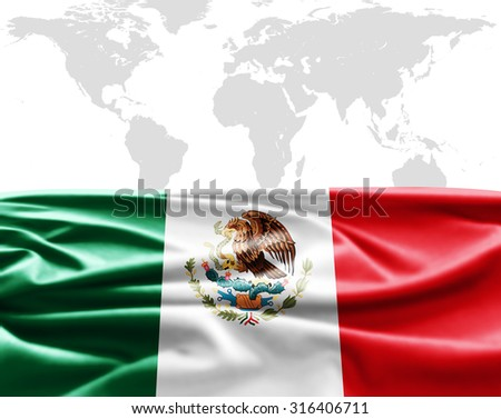 Mexico  of silk with copyspace for your text or images and world map background