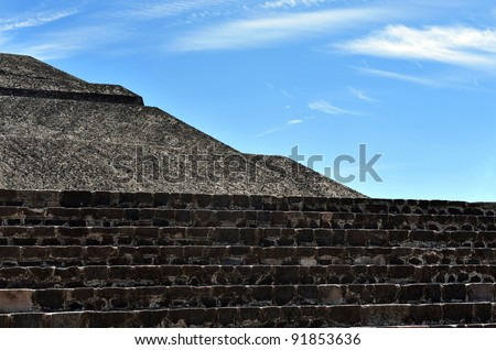Mexico pyramids. Pyramid of the sun in Teotihuacan, Mexico.Abstract background - stock photo