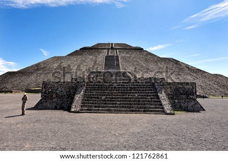 Mexico pyramids.The pyramid of Sun in Teotihuacan, Mexico - stock photo