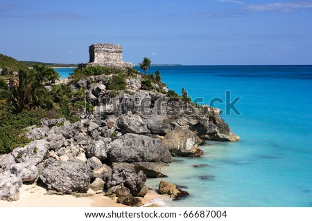 "Mexico Quintana Roo Tulum Mayan Ruins - Costa Maya or ""Mayan Riviera"" Yucatan peninsula - stock photo"