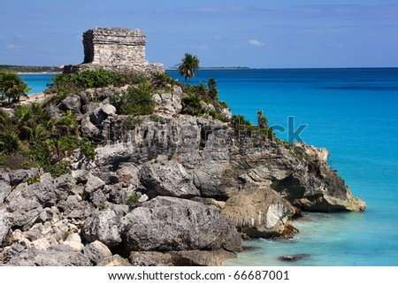 Mexico Quintana Roo Tulum Mayan Ruins - Costa Maya Yucatan peninsula - stock photo