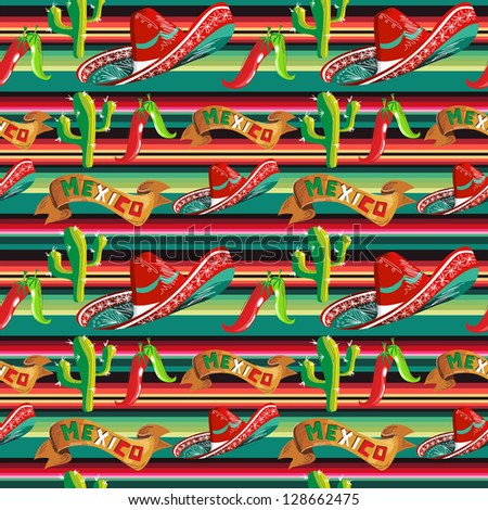 Mexico seamless pattern with cactus, hat and chill over stripped background. - stock photo