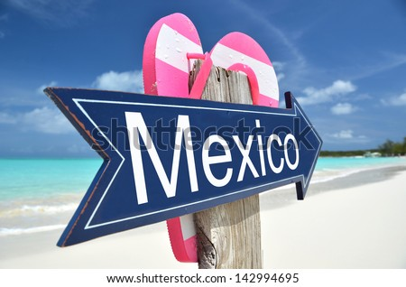 Mexico sign on the beach - stock photo