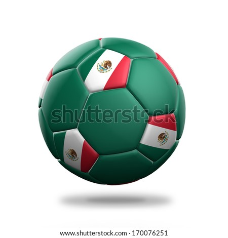 Mexico soccer ball isolated white background - stock photo