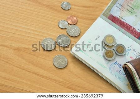 Mexico stamps money coins passport - stock photo
