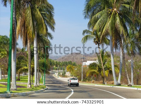 Mexico. The Road Is Huatulco.  Bay Huatulco is a picturesque Paradise with amazing mountains, slopes, valleys and luxuriant vegetation, beautiful beaches.