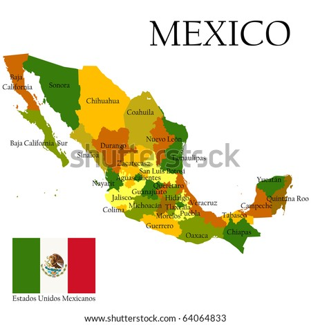 Mexico, United States of. Administrative map and flag. - stock photo