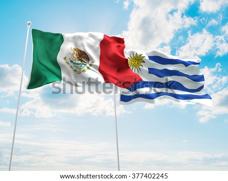 Mexico & Uruguay Flags are waving in the sky