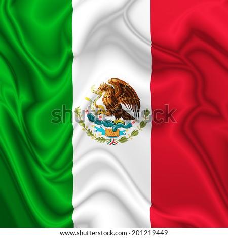 Mexico Waving Silk Flag - stock photo