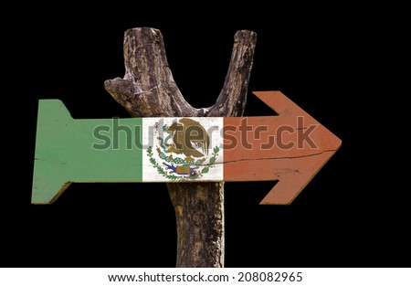 Mexico wooden sign isolated on black background - stock photo