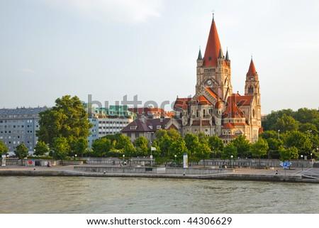 Mexicoplatz church on Danube River, Vienna, Austria - stock photo