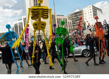 Mexiko City, Mexico - October 29, 2016 : Day of the dead parade in Mexico city. The Day of the Dead is one of the most popular holidays in Mexico.