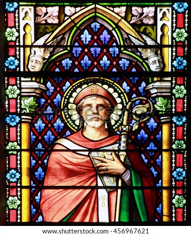 MEZE, FRANCE  July 23, 2014: Apostle. Stained glass window in the Cathedral of Meze, South of France - stock photo