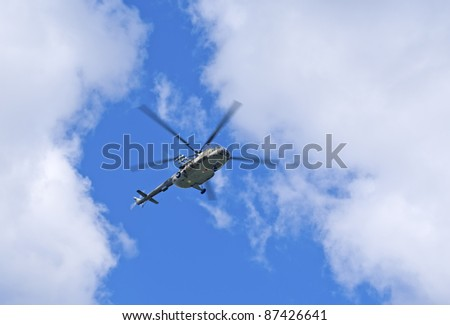 Mi-8 helicopter in the sky