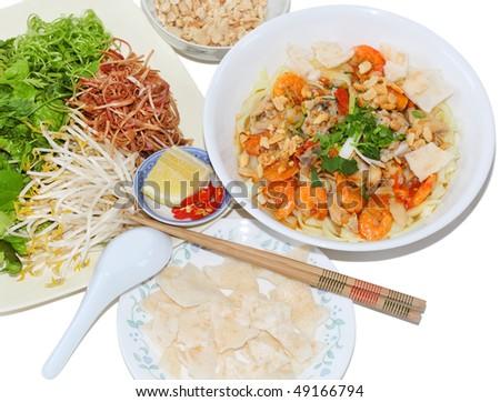 Mi Quang yellow rice noodles Vietnamese food - stock photo